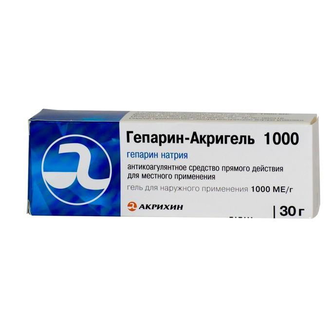 Гепарин-Акрихин гель 1000ЕД 30г